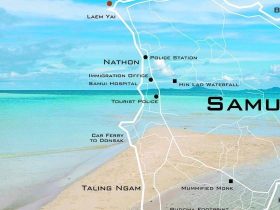 La Cartina di Samui con Chaweng, Lamai, Nathon, koh Pangan, Koh Tao e il Parco Marino